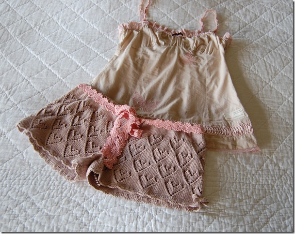SWEET HEARTS SHORTS AND BUTTERFLY CAMI