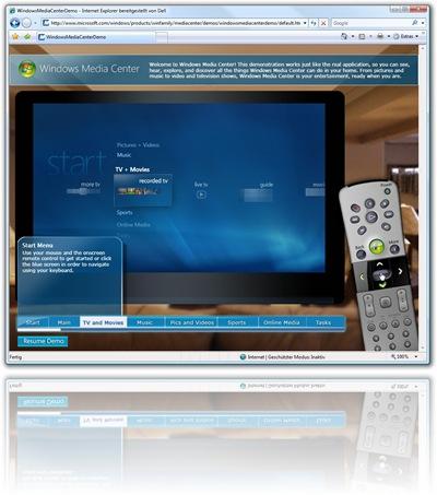 WindowsMediaCenterDemo - Internet Explorer bereitgestellt von Dell