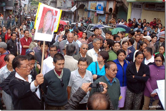 Peace rally called by Citizen's Forum Kalimpong opposition the  murder of Mr Madan Tamang
