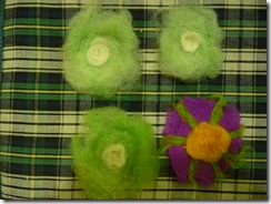 Felted flowers and blue circles 004