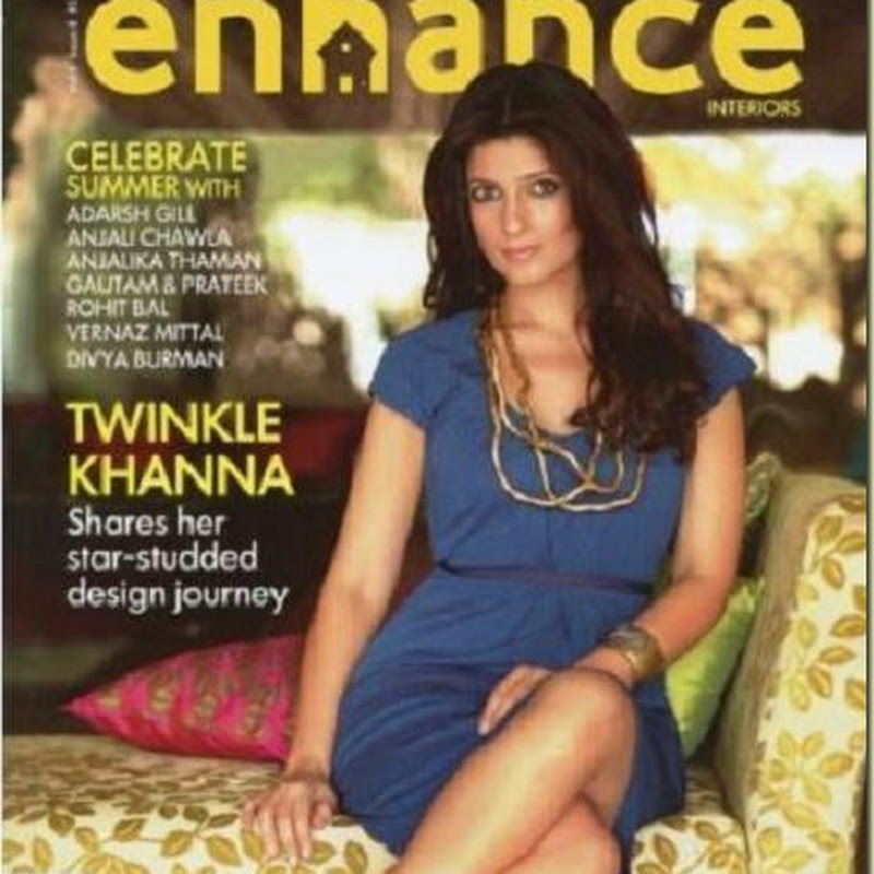 Twinkle Khanna on the cover of Enhance Interior magazine