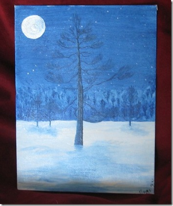blue winters night painting mystic silks