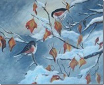 backroom treasures birds on snowy branch