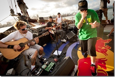 Charlie Brown Jr. band performing during Red Bull Music Armada on march 11th, 2011 in Santos, Brazil