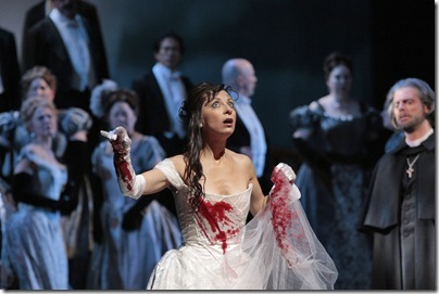 "Natalie Dessay in the title role of Donizetti's ""Lucia di Lammermoor.""<br />Photo: Ken Howard/Metropolitan Opera<br /><br />2010-11 performances: Feb 24-Mar. 19<br />'Live in HD' transmission and radio broadcast: Mar. 19<br />"