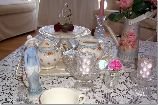 tea party with blue lady
