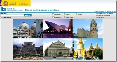 Aspecto de la página web del banco de imágenes y sonidos del Ministerio de Educación español