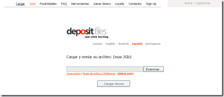 Aspecto de la web Deposit Files