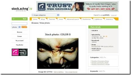 Aspecto de la web de Stock.xchng