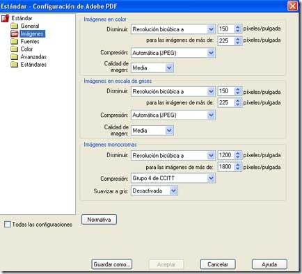 Men de configuracin de PDF del programa Adobe Acrobat