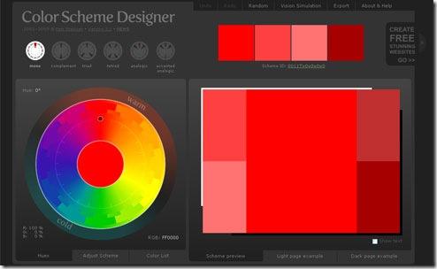 Página incial de la web Color Sheme Designer