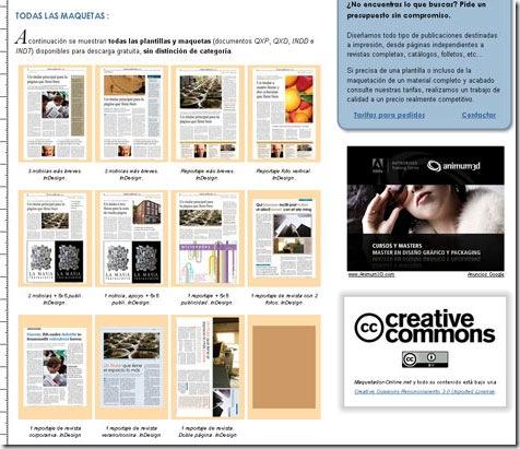 Maquetador-online.net, aspecto de las páginas de secciones
