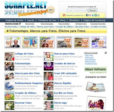 Página inicial de Scrapee.net