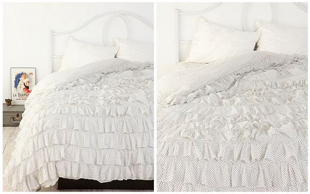 Urban Outfitters Polka Dot Waterfall Ruffle Duvet Cover