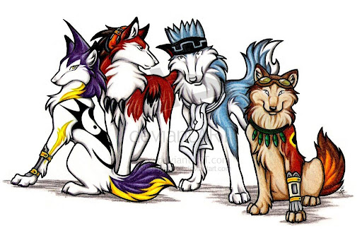 Red wolf cartoon characters
