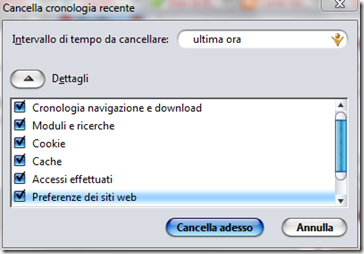 Firefox rimuovere cronologia recente