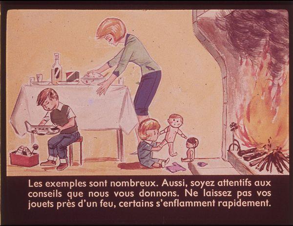 Films fixes et publicités de quartier (educational filmstrips) sur www.filmfix.fr : L'incendie