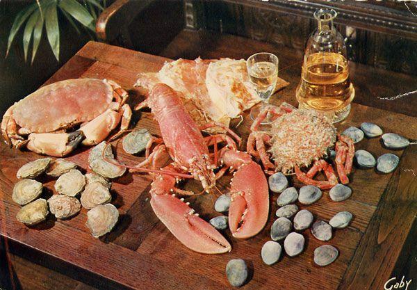 Cartes Postales Pop et  Kitsch des années 50, 70 et 70 coquillages et crustacés / seafood platters