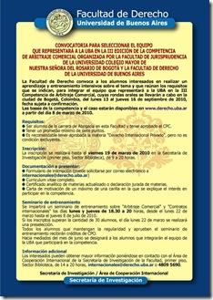 Afiche Convocatoria Competencia Arbitraje 2010
