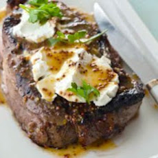 Steak Time! Ribeye With Goat Cheese And Meyer Lemon Honey Mustard Recipe