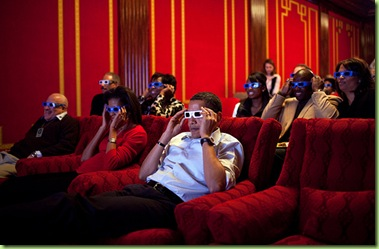 "Feb. 1, 2009 ""During a Super Bowl watching party in the White House theatre, the President and First Lady join their guests in watching one of the TV commercials in 3D.""   (Official White House photo by Pete Souza)  This official White House photograph is being made available only for publication by news organizations and/or for personal use printing by the subject(s) of the photograph. The photograph may not be manipulated in any way and may not be used in commercial or political materials, advertisements, emails, products, promotions that in any way suggests approval or endorsement of the President, the First Family, or the White House."