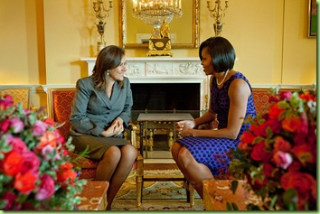 First Lady Michelle Obama greets Mrs. Margarita Zavala de Calderon, the First Lady of Mexico, in the Yellow Oval Room of the White House, Feb. 25, 2010. (Official White House Photo by Samantha Appleton)