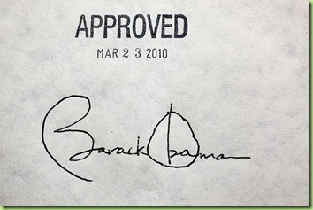 President Barack Obama's signature on the health insurance reform bill at the White House, March 23, 2010.  (Official White House Photo by Chuck Kennedy)