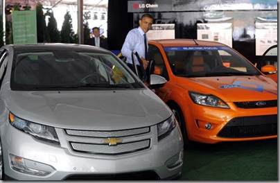 (caption info) --  President Barak Obama exits out of the Chevrolet Cruze, Thursday July 14, 2010, prior to a ground breaking for the Compact Power Inc. advanced battery plant in Holland, Mich.  (The Detroit News / Steve Perez)