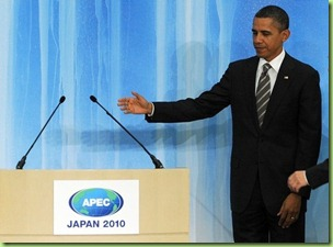 big guy introduces his shadow who will be addressing APEC