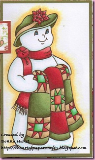Snowman with Quilt close up