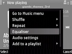 Media Player on E71 with the equalizer option