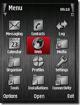 Screen Shot of Steel Black V3 theme for E71 and E71x and S60 V3 phones