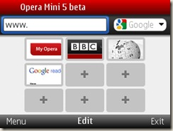 Opera Mini beta 5.0 running on E71