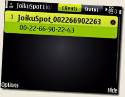 Nokia E71 Screenshot of JoikuSpot running