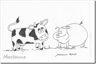 cow and pig cartoon