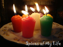 7 colored candles