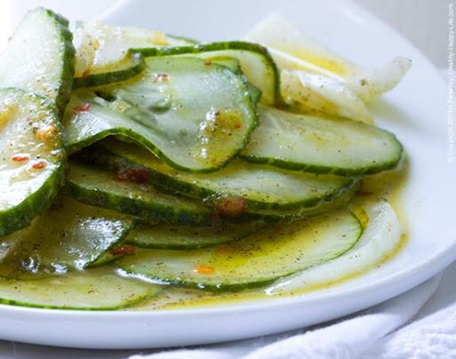 Sweet Chili Marinated Cucumber Salad. And Tartine.