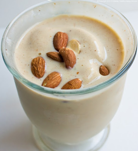 Banana Peach Almond Milkshake Recipe — Dishmaps