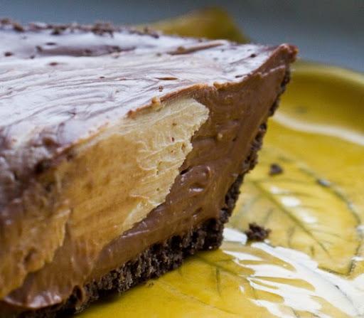 Peanut Butter Chocolate Mousse Pie. Vegan Recipe.