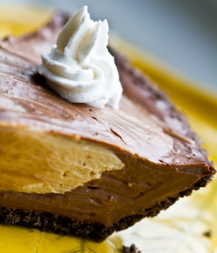 Peanut Butter Chocolate Mousse Pie. Vegan Recipe.
