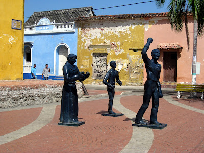 Colorful town square in Cartagena, Colombia