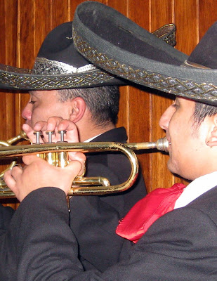 Musicians playing for a serenata, a Colobmian wedding tradition