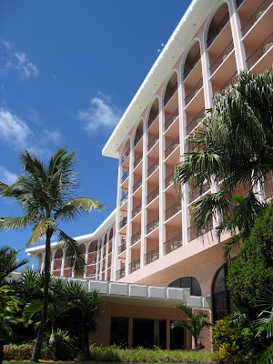 The facade of the Fairmont Hotel in Bermuda