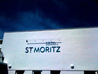 The facade of Hotel St Moritz in Cornwall, England