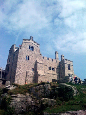 Close up view of St Michaels Mount in Cornwall, England