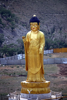Huge golden Buddha statue in Ulaanbaatar Mongolia