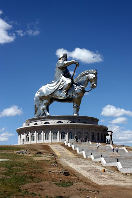 Huge statue of Genghis Khan in Terelj National Park in Mongolia