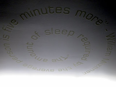 A Hoxton Hotel room ceiling with words