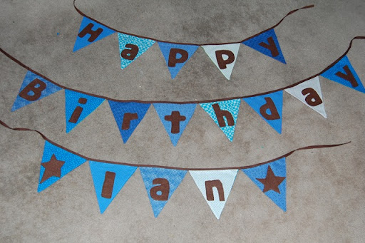 happy birthday banner tutorial. Thanks to See Mommy Sew for the fabulous idea! Ian#39;s irthday is gonna ROCK!
