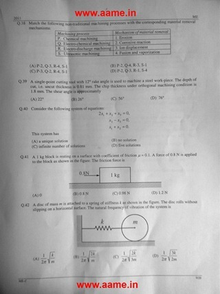 GATE 2011 Mechanical Engineering Question Paper